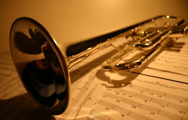 Lacquer Finished Trumpet on Sheet music
