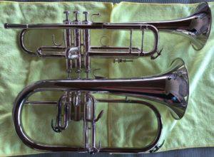 Trumpet vs Flugelhorn right side view