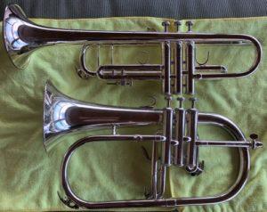 Trumpet vs Flugelhorn left side view