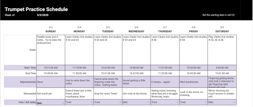 Trumpet practice log in a spreadsheet.