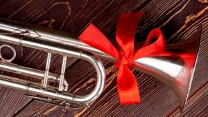 Silver Plated Trumpet with a red Bow